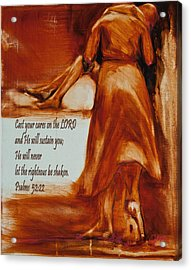 Cast Your Cares On The Lord - Psalm 52 22 Acrylic Print by Jani Freimann