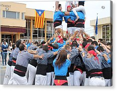 Casteller Catalan Human Tower Spain Acrylic Print by Jane Linders