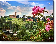 Castle And Roses In Firenze Acrylic Print