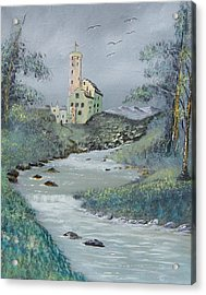 Castle By Stream Acrylic Print