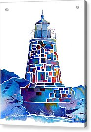 Acrylic Print featuring the painting Castle Hill Newport Lighthouse by Jo Lynch