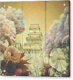 Castle Himeji - Sakura Acrylic Print by Sorin Apostolescu