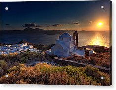 Castle In Milos At Plakas Acrylic Print by Andres Leon