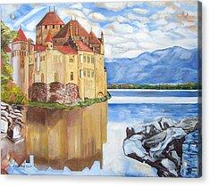 Castle Of Chillon Acrylic Print by John Keaton