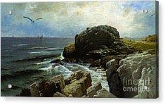 Acrylic Print featuring the digital art Castle Rock - Marblehead by Lianne Schneider