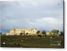 Acrylic Print featuring the photograph Castle Ruin In Spotlight by Kennerth and Birgitta Kullman
