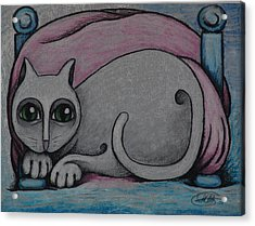 Cat  2001 Acrylic Print by S A C H A -  Circulism Technique