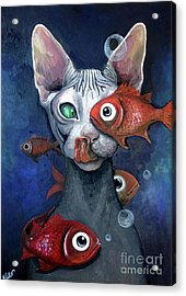 Cat And Fish Acrylic Print by Akiko Okabe