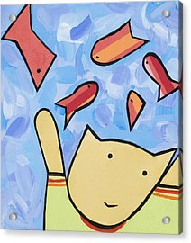 Cat And Fish Acrylic Print by Michelle  Eggan
