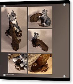 Cat And Mice Alternate Views Acrylic Print by Katherine Huck Fernie Howard