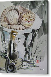 Cat And Squirrel Acrylic Print by Lian Zhen