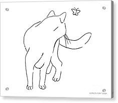 Cat-drawings-black-white-2 Acrylic Print by Gordon Punt