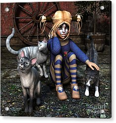Cat Girl Acrylic Print
