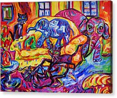 Cat Gymnastics With Elephant In The Room Acrylic Print