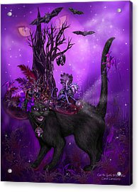 Cat In Goth Witch Hat Acrylic Print by Carol Cavalaris