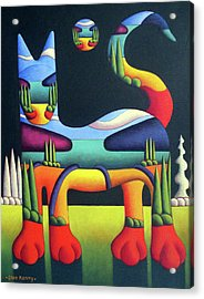 Cat In Landscape In Cat With White Trees  Acrylic Print by Alan Kenny