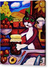Acrylic Print featuring the painting Cat In The Kitchen Bottling Fruit by Dianne  Connolly
