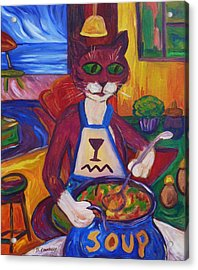 Acrylic Print featuring the painting Cat In The Kitchen Making Soup by Dianne  Connolly