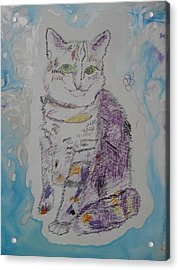 Acrylic Print featuring the painting Cat Named Jade by AJ Brown