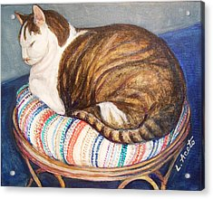 Acrylic Print featuring the painting Cat Nap by Laura Aceto