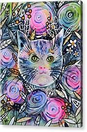 Acrylic Print featuring the painting Cat On Flower Bed by Zaira Dzhaubaeva