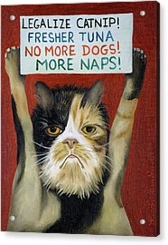 Acrylic Print featuring the painting Cat On Strike by Leah Saulnier The Painting Maniac