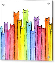 Cat Rainbow Watercolor Pattern Acrylic Print