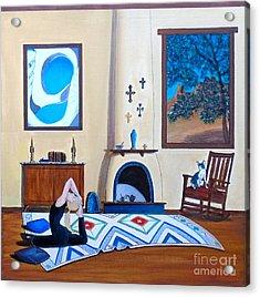 Cat Sitting In Chair Watching Woman Doing Yoga Acrylic Print