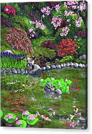 Cat Turtle And Water Lilies Acrylic Print by Laura Iverson