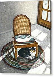 Cat Under Rocking Chair Acrylic Print