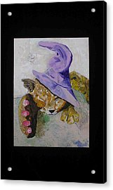Cat With A Magician's Hat Acrylic Print by AJ Brown