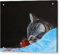 Cat With Red Yarn Acrylic Print