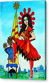 Acrylic Print featuring the painting Catalan Girl In Converse by Don Pedro De Gracia