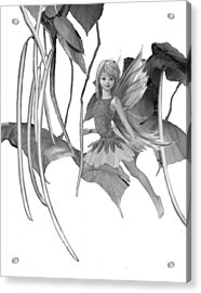 Catalpa Tree Fairy With Seed Pods B And W Acrylic Print