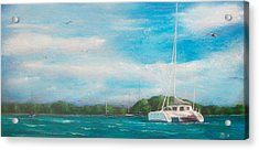 Catamaran In Salinas Harbor Acrylic Print