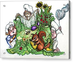 Catch-a-squirrel Acrylic Print by Rae Chichilnitsky