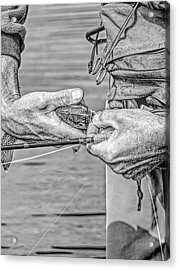 Catch And Release Rainbow Trout Monochrome Acrylic Print