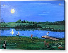 Catching Fireflies By Moonlight Acrylic Print