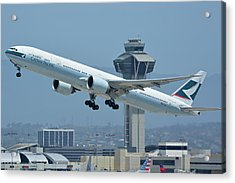 Cathay Pacific Boeing 777-367er B-kph Los Angeles International Airport May 3 2016 Acrylic Print by Brian Lockett
