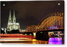 Cathedral, Bridge And Boat In Cologne Acrylic Print by Holger Ostwald