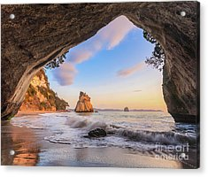 Cathedral Cove At Dawn Acrylic Print