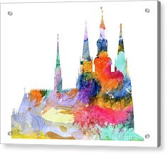Cathedral Of Saint Vitus In The Prague Castle Watercolor Art Acrylic Print