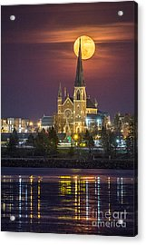 Cathedral Of The Immaculate Conception With Full Moon Acrylic Print
