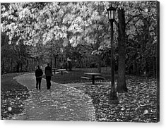 Cathedral Park In Fall Bw Acrylic Print