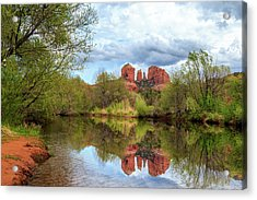 Cathedral Rock Reflection Acrylic Print by James Eddy