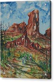 Hiking Cathedral Rock,  Sedona, Az. Acrylic Print