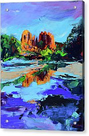 Acrylic Print featuring the painting Cathedral Rock - Sedona by Elise Palmigiani