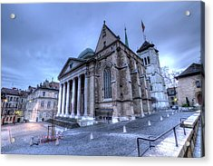 Cathedral Saint-pierre, Peter, In The Old City, Geneva, Switzerland, Hdr Acrylic Print