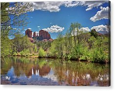 Catherdral Rock And Reflection- Sedona Acrylic Print