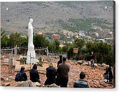 Catholic Pilgrim Worshipers Pray To Virgin Mary Medjugorje Bosnia Herzegovina Acrylic Print by Imran Ahmed
